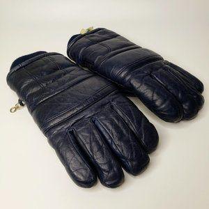 Conroy Men's Dark Blue Leather Winter Gloves M